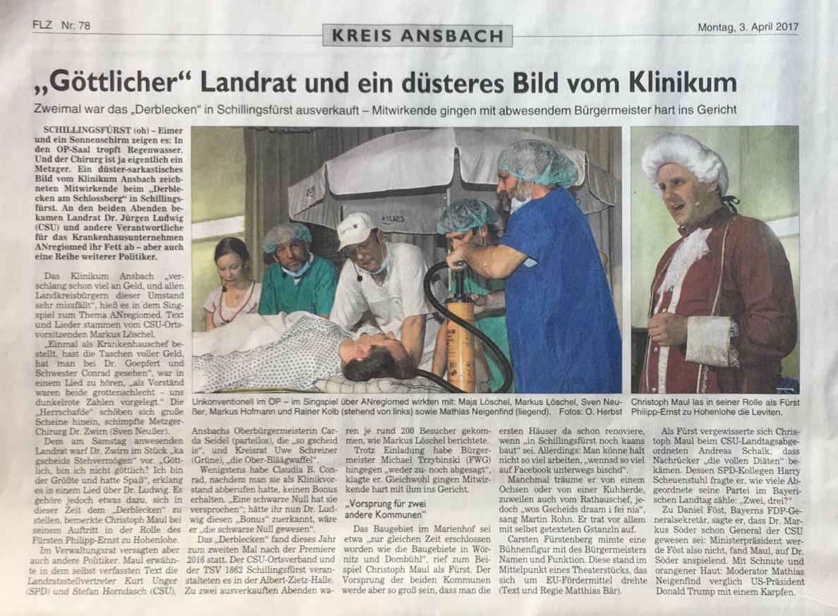 Zeitungsbericht Derblecken 2017 FLZ Ansbach