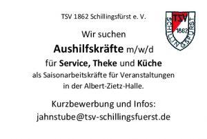 Stellenanzeige Jahnstube TSV Schillingsfürst